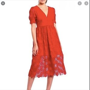 Gianni Bini 0 red lace dress Gabrielle NWT